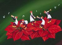 ポインセチアの上でラッパを吹く5人の妖精