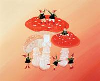 赤いきのこの上や周りで踊る妖精たち(秋)