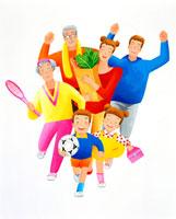 前に向かって走る元気で笑顔の熟年と家族 02237002572| 写真素材・ストックフォト・画像・イラスト素材|アマナイメージズ