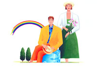 帽子を手にトランクに座る男性と花持つ女性