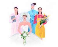花嫁や看護師 花屋 スポーツする女性達