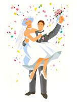 ウェディングで花嫁を抱く新郎と紙吹雪 02237002600| 写真素材・ストックフォト・画像・イラスト素材|アマナイメージズ
