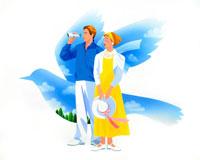 青い鳥と双眼鏡見る彼と帽子を持つカップル 02237002607| 写真素材・ストックフォト・画像・イラスト素材|アマナイメージズ