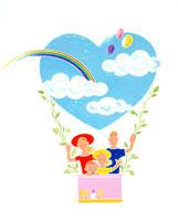 空や雲や虹や風船模様の気球に乗る親子4人