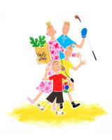 親子4人が買い物やゴルフやサッカーに外出