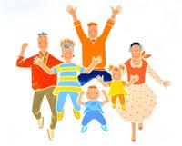 両手を上げジャンプする祖父母や子供の家族 02237002651| 写真素材・ストックフォト・画像・イラスト素材|アマナイメージズ