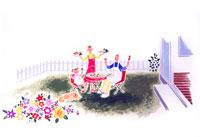 庭でバーベキューする親子3人と寝そべる犬
