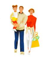 ボール持つ子供を抱いて散歩する若い両親