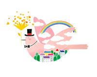 花束を口に飛ぶ虹と街と雲模様のピンクの鳥 02237002665| 写真素材・ストックフォト・画像・イラスト素材|アマナイメージズ