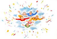 紙吹雪きの中笑顔で飛び立つ家族と熟年夫婦