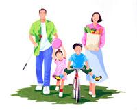 自転車に乗り買い物やゴルフの練習の家族