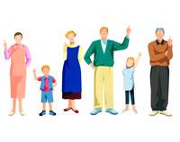 笑顔で指を指し示す子供と両親と熟年夫婦