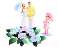 梅雨に傘を持つ笑顔の家族と紫陽花