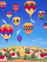 気球の浮かぶ空の下の家並み 02237002878  写真素材・ストックフォト・画像・イラスト素材 アマナイメージズ