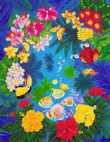 熱帯魚とハイビスカスのトロピカル背景