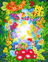 熱帯の花と生き物のトロピカル背景