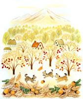 晩秋の山里に枯葉と遊ぶ小犬のメルヘン 02237002950| 写真素材・ストックフォト・画像・イラスト素材|アマナイメージズ