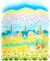 菜の花とニワトリとヒヨコのメルヘン