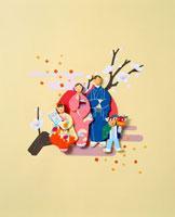 梅の枝日の出を前に正月の着物姿の4人家族