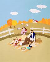 紅葉した牧場でピクニックする4人家族 02237002970| 写真素材・ストックフォト・画像・イラスト素材|アマナイメージズ