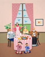 ピンクのダイニングで朝食を食べる家族