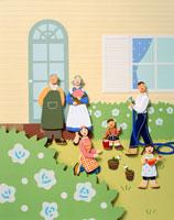 白いバラと家の庭でガーデニングをする家族
