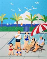 夏のリゾート プールでくつろぐ6人家族