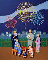 夏の花火大会 庭で花火をする6人家族