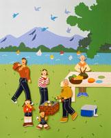 湖の前でバーベキューをする6人家族
