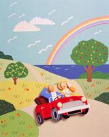 赤い車でドライブをする熟年夫婦