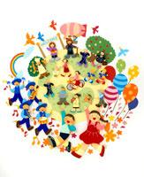 子供達とパレード 02237002995  写真素材・ストックフォト・画像・イラスト素材 アマナイメージズ