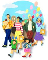 街でショッピングを楽しむ6人家族