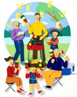 湖でバーベキューを楽しむ6人家族