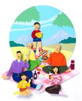 山を背にピクニックを楽しむ6人家族 02237003047| 写真素材・ストックフォト・画像・イラスト素材|アマナイメージズ
