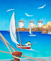 ミコノス島の漁師と風車とカモメ
