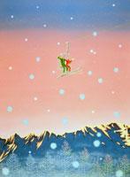 雪山スキーでリフトに乗るデート