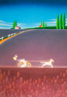 ラベンダー畑で馬車に乗る新郎新婦