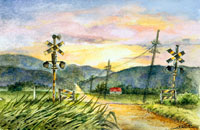 夏の北海道で夕日が見える線路の風景