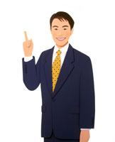30歳代指を指すビジネススーツの男性
