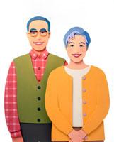 60から70歳代笑顔の熟年夫婦