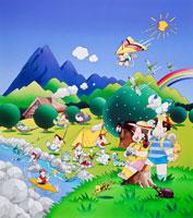 キャンプ場、カヌーやハングライダーの子供