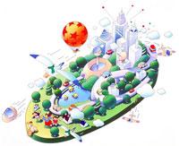 未来的な都市の風景と緑の街に気球