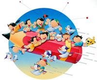 空を飛ぶ鉛筆と学習する子供