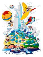 未来都市と森に気球や飛行船に家族や森