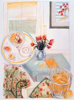 チューリップと花柄のソファーでティタイム