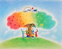 丘の上の街のある虹色の木を囲む3世代家族 02237003354| 写真素材・ストックフォト・画像・イラスト素材|アマナイメージズ