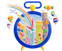 時計の中から飛び出る虹とビル群と気球