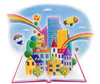 開いた本の上に建つ街と虹 02237003369  写真素材・ストックフォト・画像・イラスト素材 アマナイメージズ