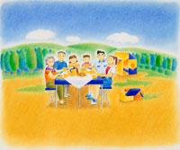 山の中のキャンプで食事する3世代家族 02237003370| 写真素材・ストックフォト・画像・イラスト素材|アマナイメージズ