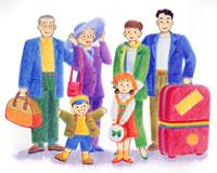 トランクやボストンバッグで旅行姿の家族